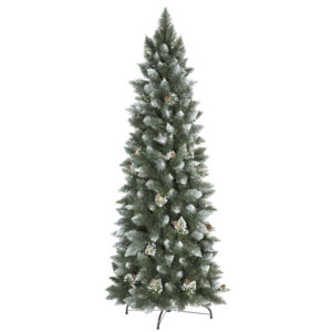 Árbol de Navidad artificial Pino Natural Blanco Nevado slim
