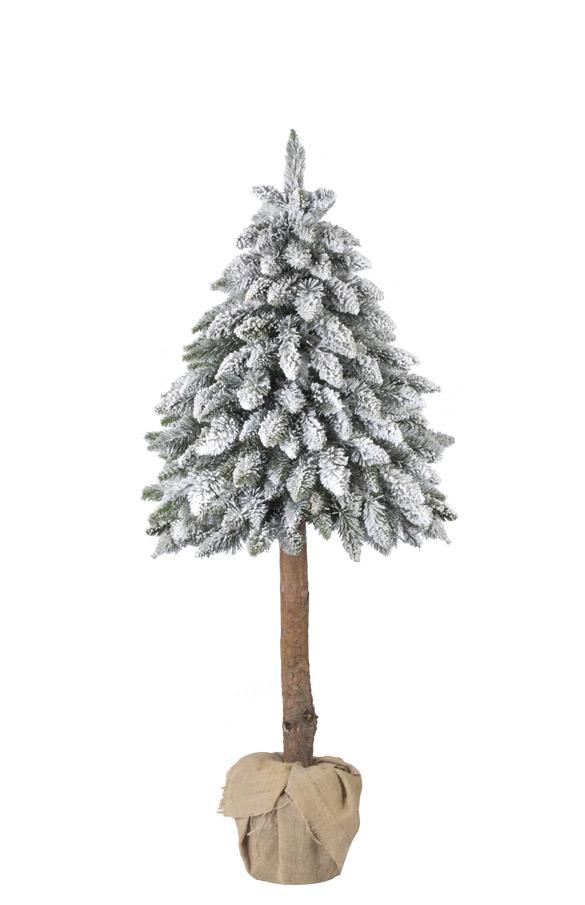 Árbol de Navidad Picea Colocado en tronco con nieve