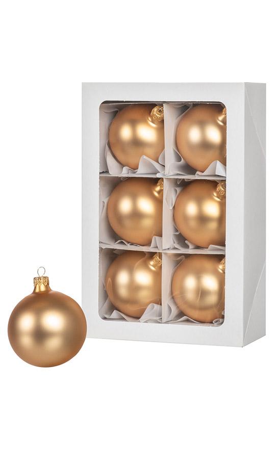 Las bolas de Navidad de color oro 6 piezas 8 cm