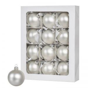 Las bolas de Navidad de color plata 12 piezas 6 cm