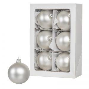 Las bolas de Navidad de color plata 6 piezas 8 cm