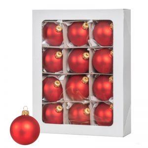Las bolas de Navidad rojas 12 piezas 6 cm