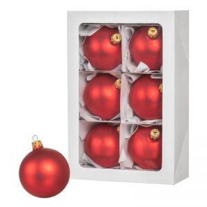Las bolas de Navidad rojas 6 piezas 8 cm