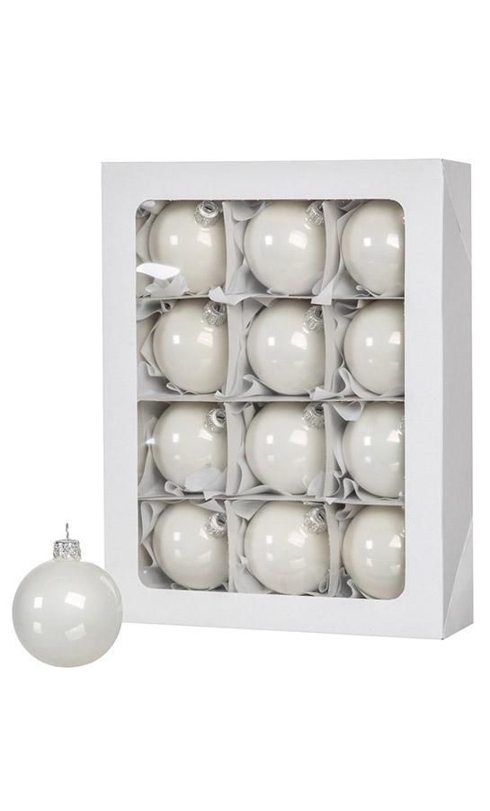 Las bolas de Navidad blancas 12 piezas 6 cm