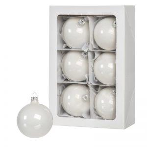 Las bolas de Navidad blancas 6 piezas 8 cm